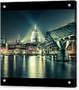 London Landmarks By Night Acrylic Print by Araminta Studio - Didier Kobi