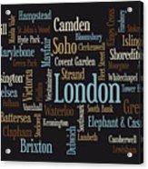 London Text Map Acrylic Print by Michael Tompsett