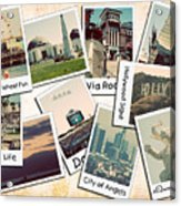 Los Angeles Polaroid Collage Acrylic Print by Ricky Barnard