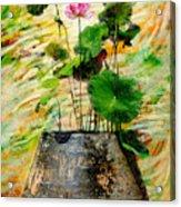 Lotus Tree In Big Jar Acrylic Print by Atiketta Sangasaeng