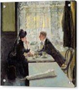 Lovers In A Cafe Acrylic Print by Gotthardt Johann Kuehl