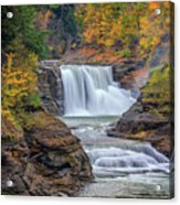 Lower Falls In Autumn Acrylic Print by Rick Berk