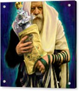 Lubavitcher Rebbe With Torah Acrylic Print by Sam Shacked