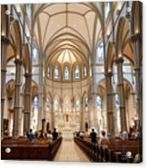Lunchtime Mass At Saint Paul Cathedral Pittsburgh Pa Acrylic Print by Amy Cicconi