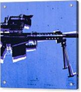 M82 Sniper Rifle On Blue Acrylic Print by Michael Tompsett