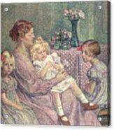 Madame Van De Velde And Her Children Acrylic Print by Theo van Rysselberghe