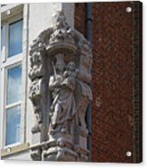 Madonna And Child Statue On The Corner Of A House In Bruges Acrylic Print by Louise Heusinkveld