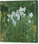 Madonna Lilies In A Garden Acrylic Print by Walter Crane