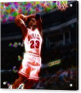 Magical Michael Jordan White Jersey Acrylic Print by Paul Van Scott