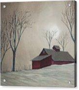 Majestic Winter Night Acrylic Print by Charlotte Blanchard