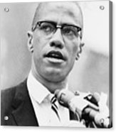 Malcolm X 1925-1965, Forceful African Acrylic Print by Everett