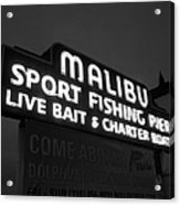 Malibu Pier Sign In Bw Acrylic Print by Glenn McCarthy Art and Photography