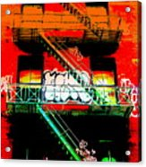 Manhattan Fire Escape Acrylic Print by Funkpix Photo Hunter