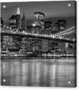 Manhattan Night Skyline Iv Acrylic Print by Clarence Holmes