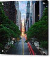 Manhattanhenge From 42nd Street, New York City Acrylic Print by Andrew C Mace