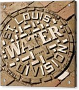 Manhole Cover In St Louis Acrylic Print by Mark Williamson