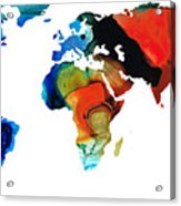 Map Of The World 3 -colorful Abstract Art Acrylic Print by Sharon Cummings