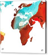 Map Of The World 4 -colorful Abstract Art Acrylic Print by Sharon Cummings