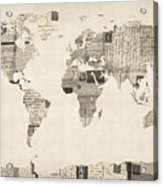Map Of The World Map From Old Postcards Acrylic Print by Michael Tompsett