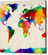 Map Of The World Map Acrylic Print by Michael Tompsett