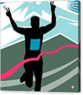 Marathon Race Victory Acrylic Print by Aloysius Patrimonio