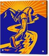 Marathon Runner Or Jogger On Mountain Road  Acrylic Print by Aloysius Patrimonio