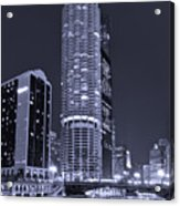Marina City On The Chicago River In B And W Acrylic Print by Steve Gadomski