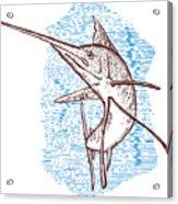 Marlin Woodcut Acrylic Print by Aloysius Patrimonio