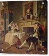 Marriage A La Mode II The Tete A Tete Acrylic Print by William Hogarth