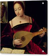 Mary Magdalene Playing The Lute Acrylic Print by Master of the Female Half Lengths