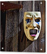 Mask On Barn Door Acrylic Print by Garry Gay
