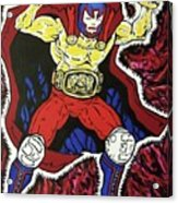 Masked Wrestler Collaboration Acrylic Print by Suzanne  Marie Leclair