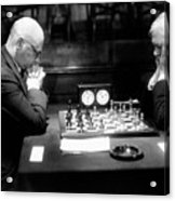Mature Men Playing Chess, Profile (b&w) Acrylic Print by Hulton Archive
