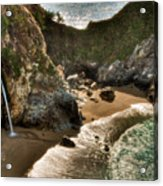 Mcway Falls Hwy 1 California Acrylic Print by Connie Cooper-Edwards