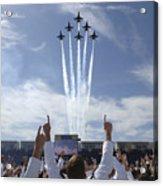 Members Of The U.s. Naval Academy Cheer Acrylic Print by Stocktrek Images