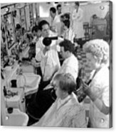 Men's Hairdressing Acrylic Print by Maurice Ambler