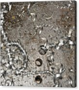Metal Shavings On Floor Acrylic Print by Shannon Fagan