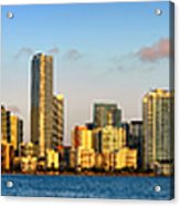 Miami Skyline In Morning Daytime Panorama Acrylic Print by Jon Holiday