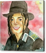Michael Jackson - A Bright Smile Shining In The Sky Acrylic Print by Nicole Wang