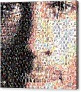 Michael Jordan Face Mosaic Acrylic Print by Paul Van Scott