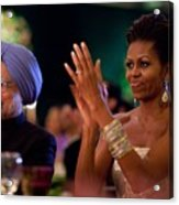 Michelle Obama Applauds Acrylic Print by Everett