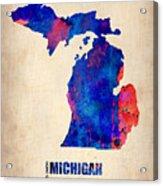 Michigan Watercolor Map Acrylic Print by Naxart Studio