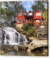 Mill Shoals Falls - Wnc Blue Ridge Waterfalls Acrylic Print by Dave Allen