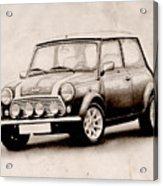 Mini Cooper Sketch Acrylic Print by Michael Tompsett