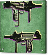 Mini Uzi Sub Machine Gun On Green Acrylic Print by Michael Tompsett