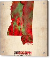 Mississippi Watercolor Map Acrylic Print by Naxart Studio