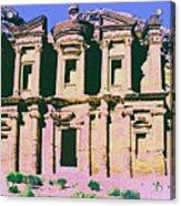 Monastery At Petra Acrylic Print by Dominic Piperata