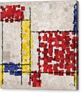 Mondrian Inspired Squares Acrylic Print by Michael Tompsett