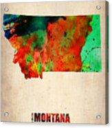Montana Watercolor Map Acrylic Print by Naxart Studio