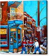 Montreal City Scene Hockey At Wilenskys Acrylic Print by Carole Spandau